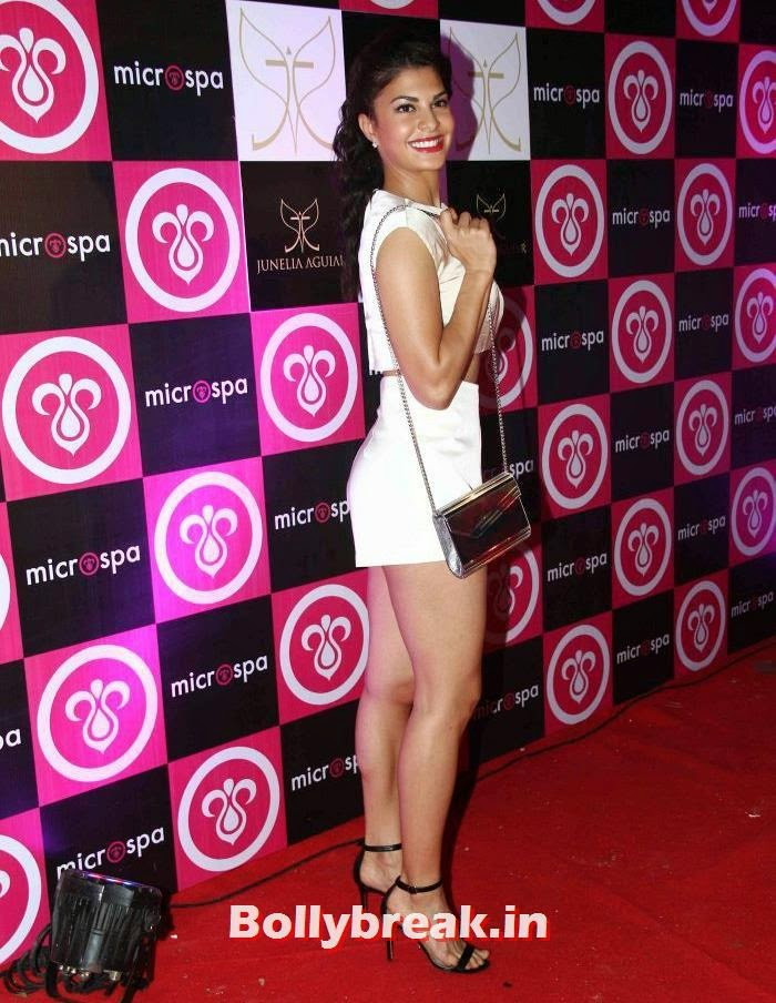 , Jacqueline Fernandez in Hot Short White Dress at Launch of Microspa