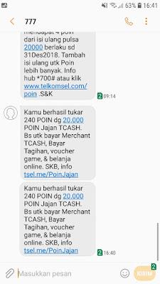 Bukti Penukaran Telkomsel Poin dengan Saldo TCASH