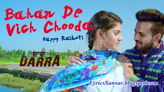 Bahan De Vich Chooda Lyrics : Darra | Happy Raikoti