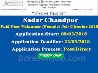 Sadar Chandpur Family Planning Paid Peer Volunteer job circular 2018