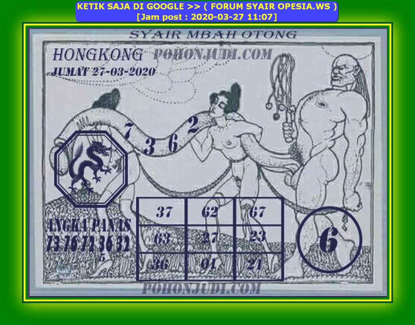 Kode syair Hongkong Jumat 27 Maret 2020 178