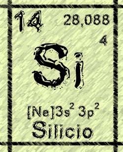 Símbolo del Silicio, número atómico 14, peso atómico:28 umas y configuración electrónica