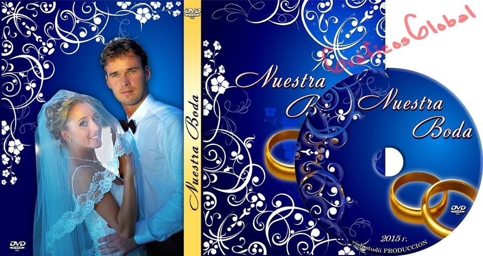 Portada DVD con fondo azul floral