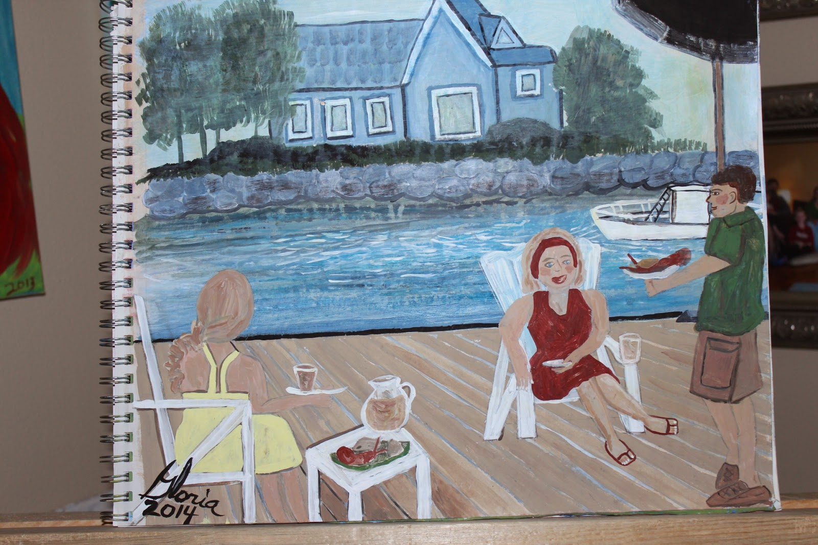 """Lunch on the dock"" sketch by Gloria Poole, mixed media, yr 2014"