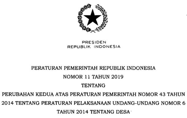 PP Nomor 11 Tahun 2019