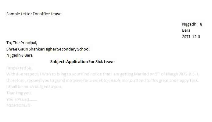 Sample Letter For Office Leave – Sample Application for Leave from School
