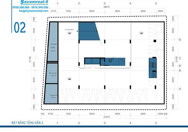 Mặt bằng tầng hầm 2 dự án căn hộ Carillon 3 Hoàng Hoa Thám