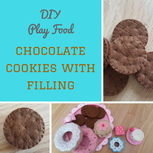 DIY Play Food - felt chocolate cookies with filling - tutorial and pattern