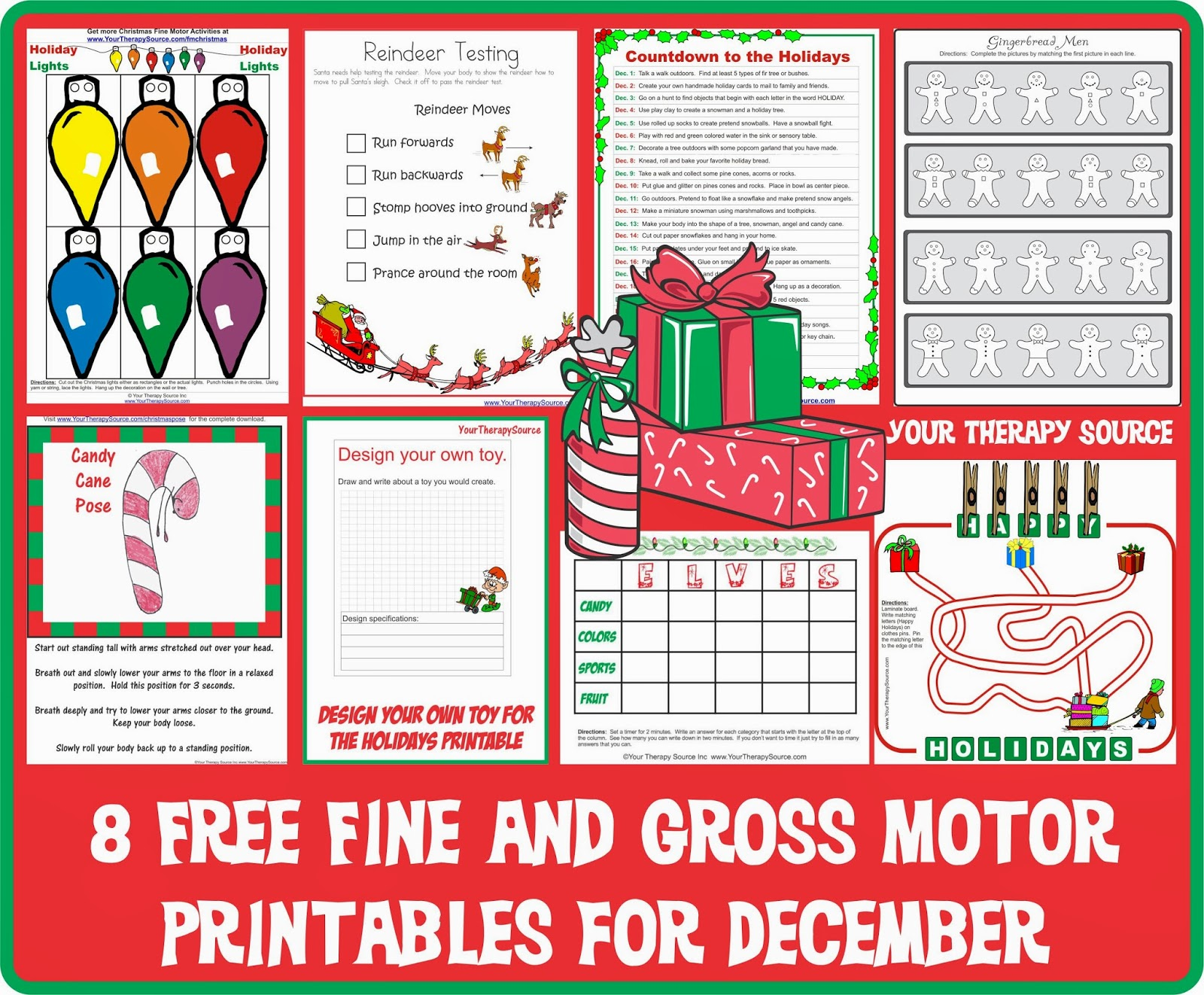 8 free printable fine and gross motor activities for december your therapy source. Black Bedroom Furniture Sets. Home Design Ideas