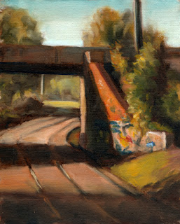 Oil painting of a low rail bridge surrounded by vegetation and supported by a graffiti-covered brick wall.  Tram tracks run under the bridge around a corner.