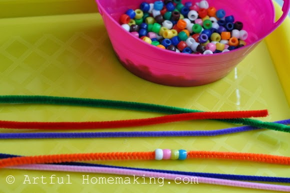 Fine Motor Coordination: Keeping Little Ones Hands Busy. Pony beads and pipe cleaners
