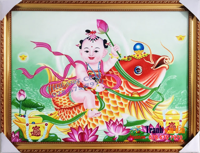 Tranh Hài Đồng Cưỡi Cá Chép