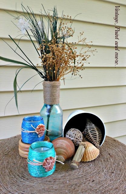 Vintage, Paint and more... Raffia wrapped votives in a beach inspired vignette
