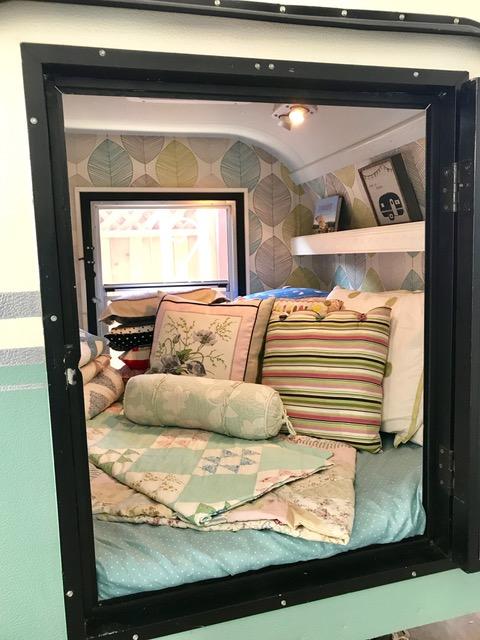 Inside of vintage trailer