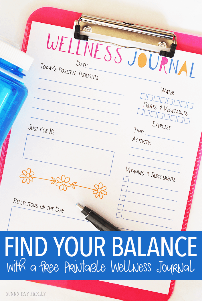 Looking to find your balance with all the demands of a busy life? Track your goals for mental and physical well being with this printable wellness journal page, and get tips for things to do every day to find your own balance!