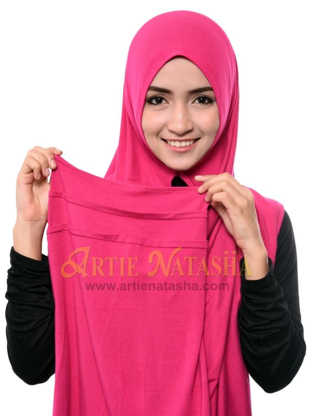 tutorial cara pakai tudung instant shawl 2 muka cotton senang