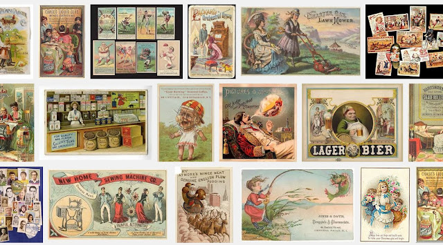 "results of Google image search for ""trade cards"" showing groups and individual advertising cards"