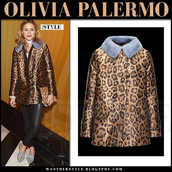 Olivia Palermo in brown leopard print jacket with blue fur collar moncler eucrante and black leather leggings j brand edita what she wore winter fashion