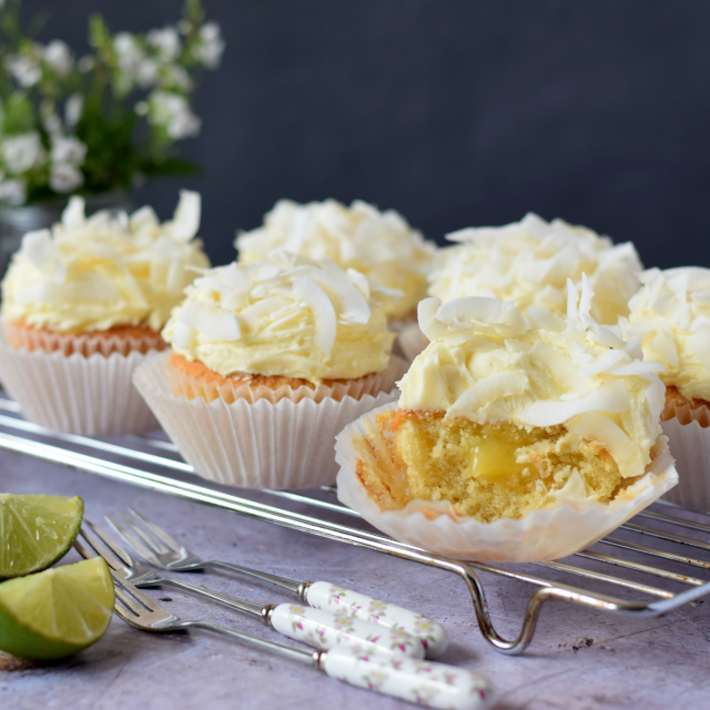 Coconut & Lime Cupcakes filled with lime curd