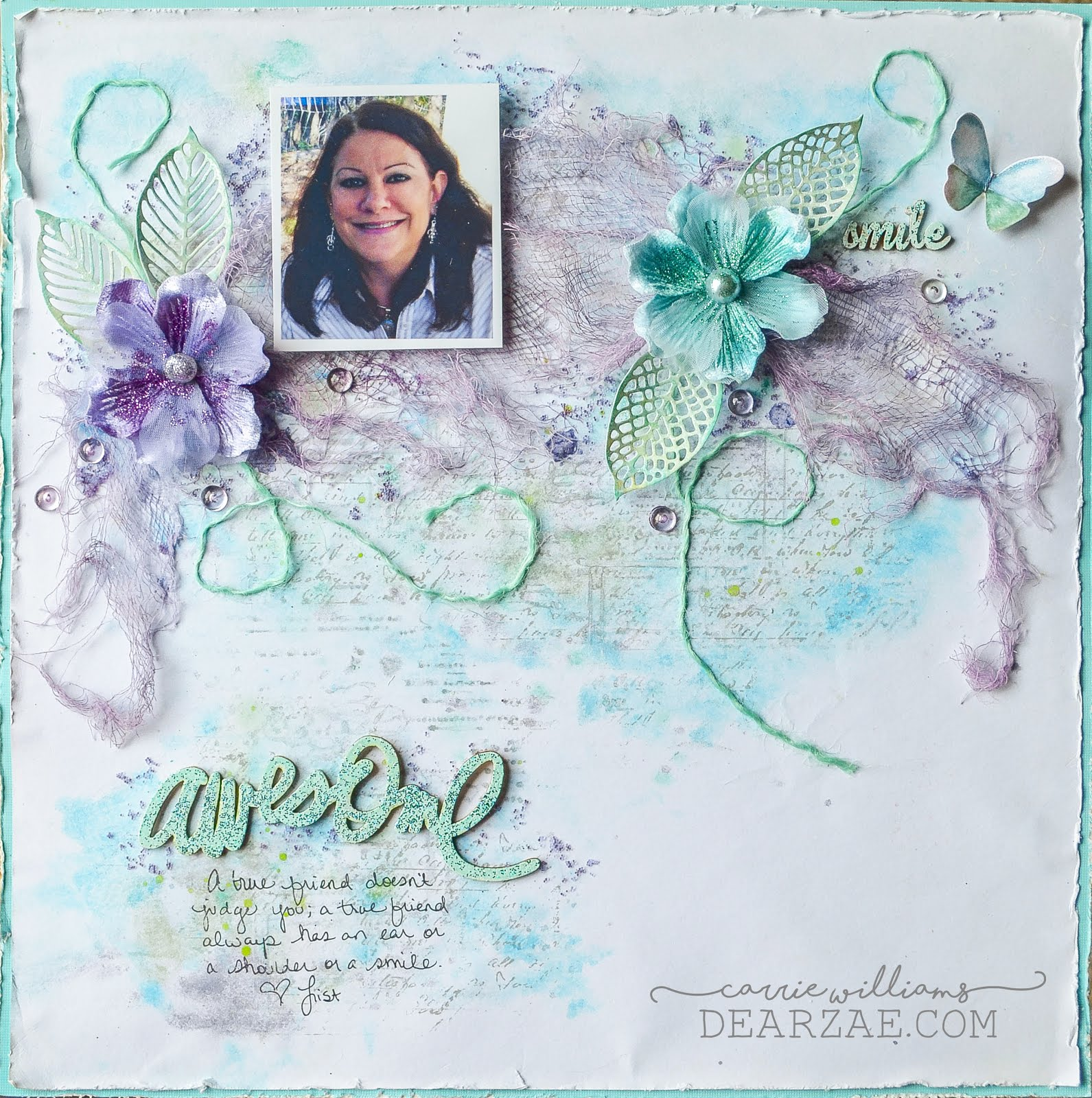 Awesome Friend mixed media scrapbooking layout page in green, blue, and purple featuring watercolors, dyed cheesecloth, stamping, and heat embossing for CSI Case File challenge 235