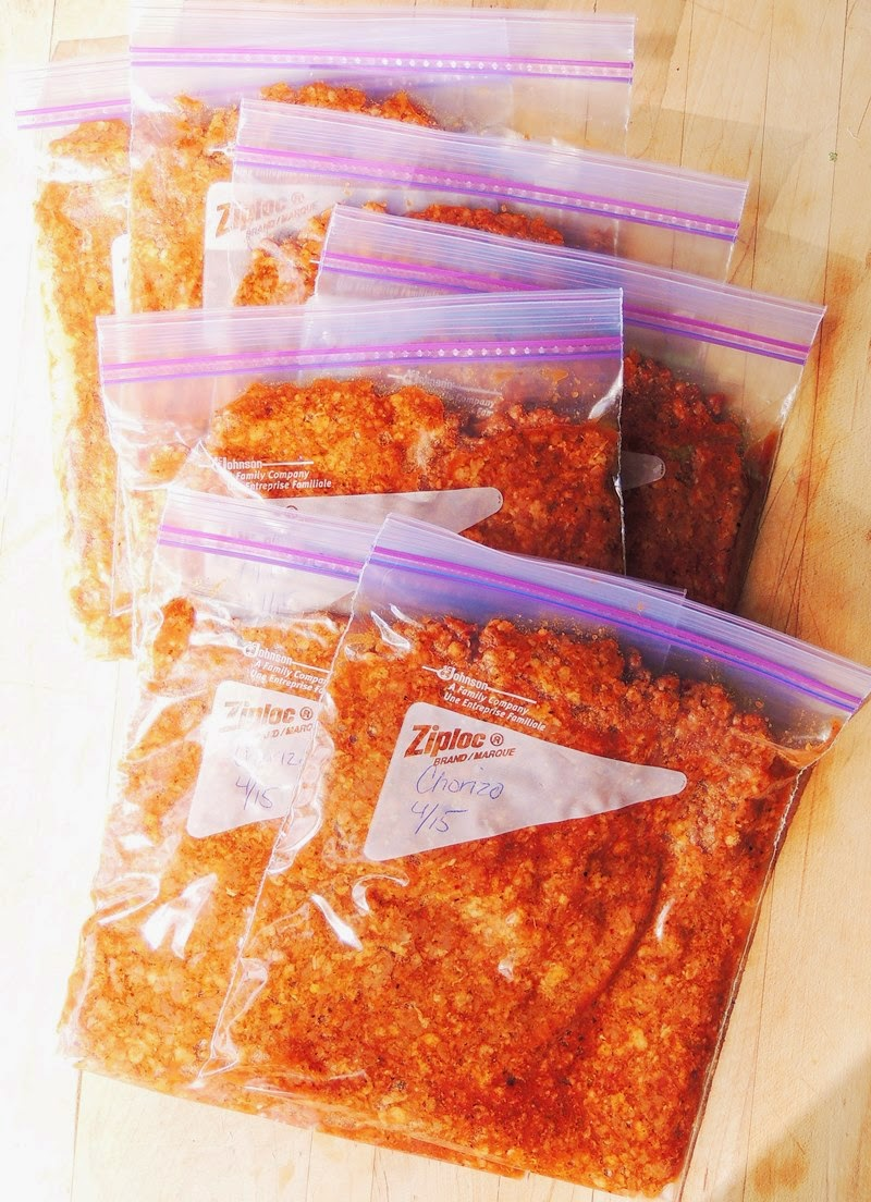 Easy Homemade Chorizo in ziplock bags.