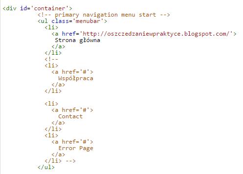 Dostosowywanie menu na blogu