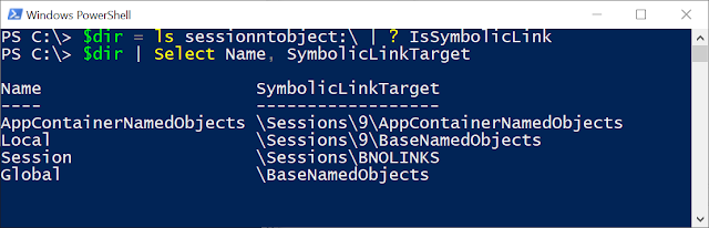 "Listing SessionNtObject:\ directory in PowerShell and selecting out symbolic links with the filter ""? IsSymbolicLink""."