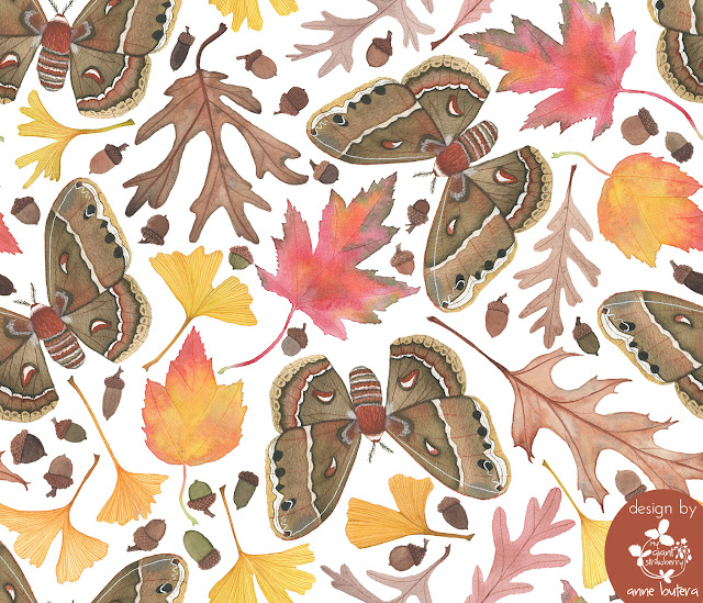 autumn, fall leaves, moths, acorns, fabric design, surface pattern design, Spoonflower, Anne Butera, My Giant Strawberry