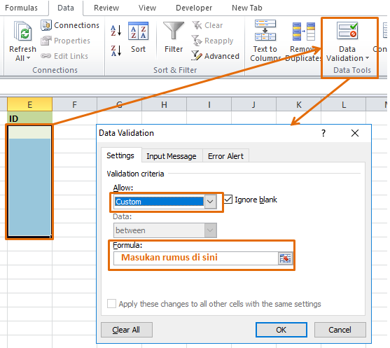 Custom data validation di Excel