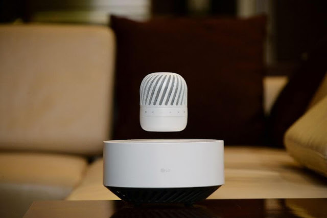 LG Bluetooth speaker floating in air using electromagnetism at CES