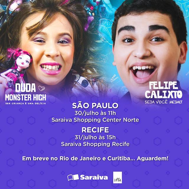Na livraria saraiva do Shopping Recife Felipe Calixto Seja você mesmo  Duda Monster High