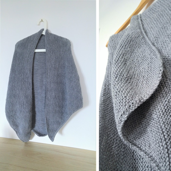 Trendy châle gris en laine Bergère de France par Hello c'est Marine - Chat tricote par ici