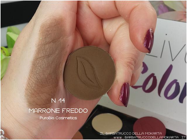 n 14 marrone freddo  swatches ombretto eyeshadow Purobio Cosmetics