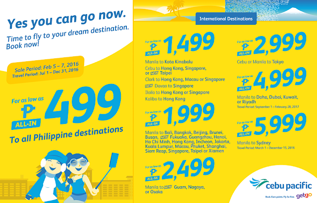 Cebu Pacific Cheap Fare Flights January 2016 Promo