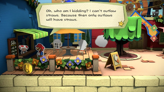 Paper Mario Color Splash outlaw straws gun control