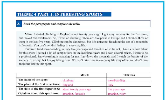 9. Sınıf Yıldırım Yayınları İngilizce A1.2 Çalışma Kitabı 31. Sayfa Cevapları Theme 4 Sports