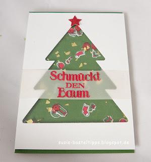 DIY Designerpapier mit Stempelset Iconic Christmas von Stampin' Up! Demonstratorin in Coburg Susis Basteltipps weihnachtskarte geschenkverpackung schüttelkarte weihnachtsbaum