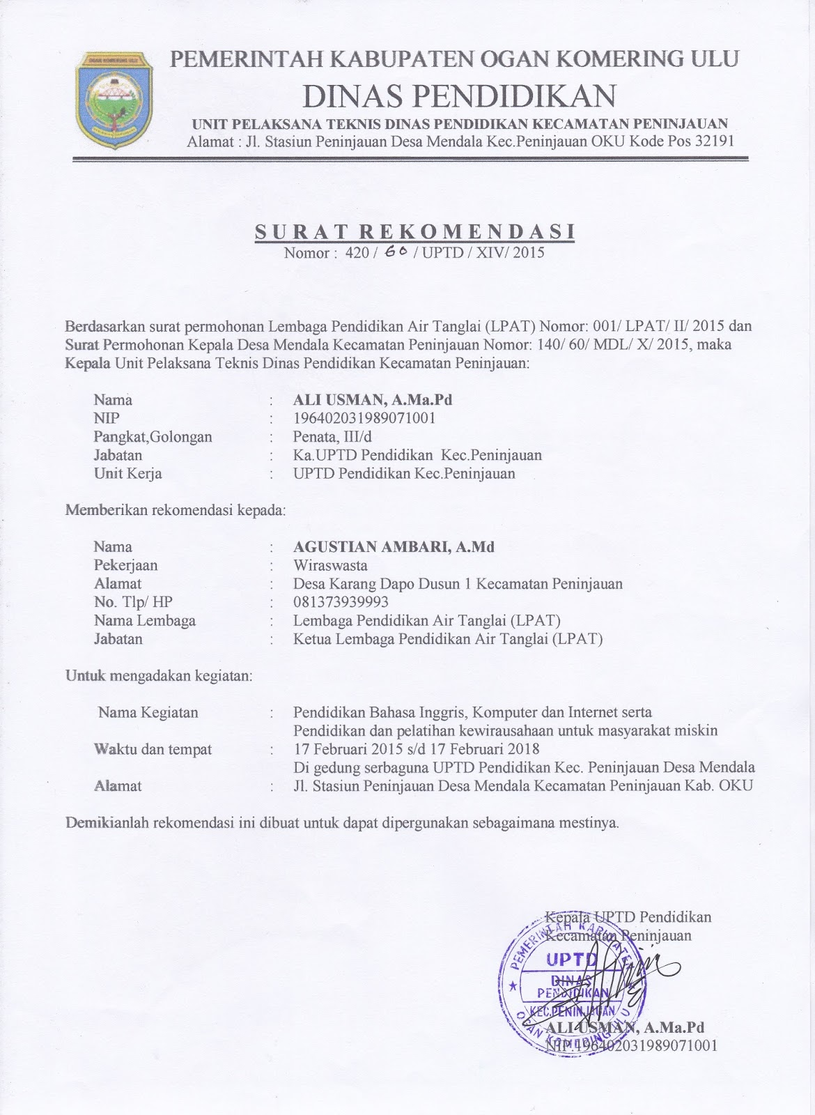 Contoh Surat Izin Kegiatan Desa