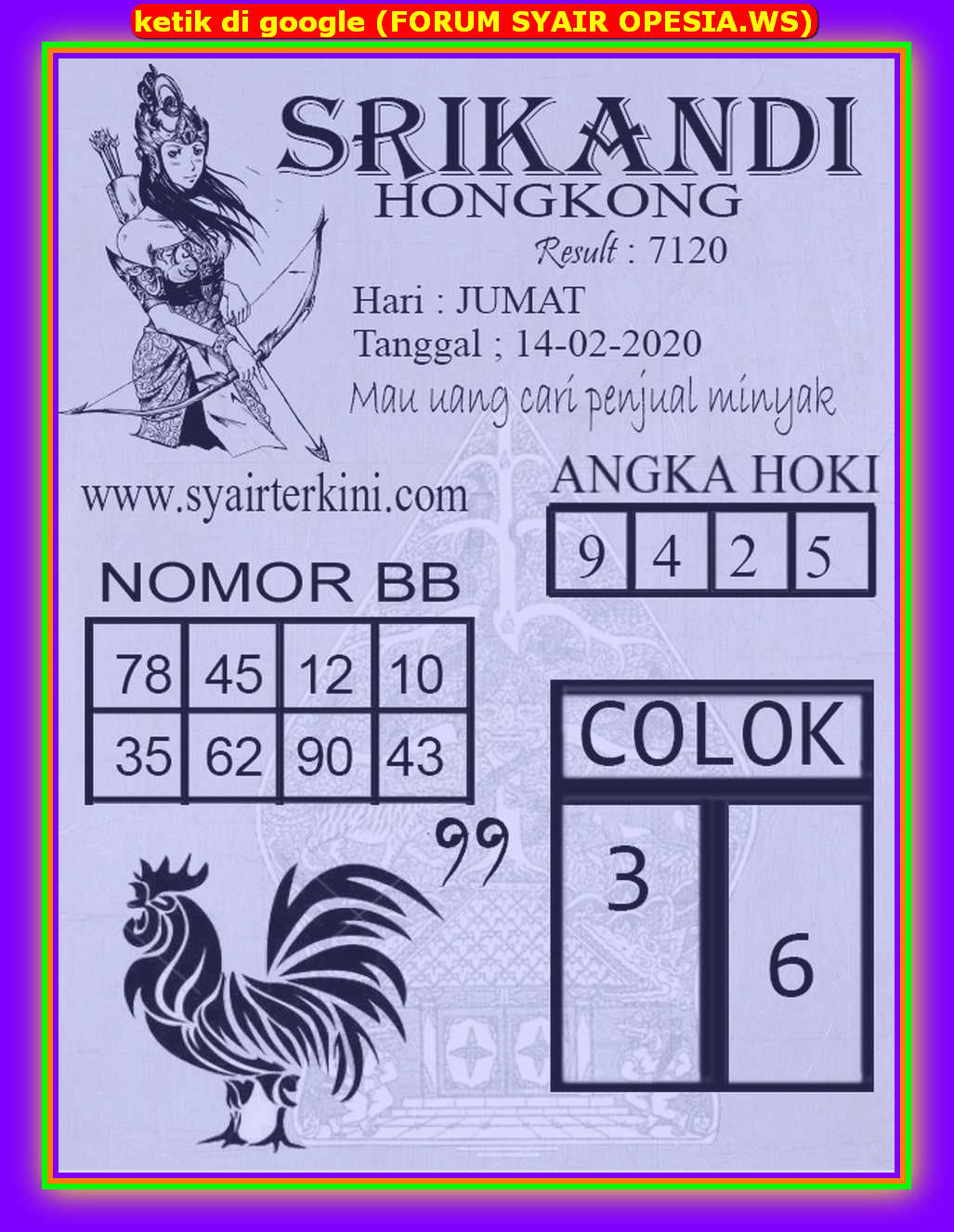 Kode syair Hongkong Jumat 14 Februari 2020 74