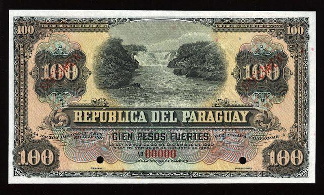World paper money Paraguay Currency 100 Pesos banknote