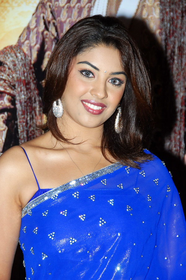 Spicy richa gangopadhyay latest hot looking images photos in blue saree at nagavalli audio release function