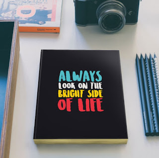 bright, always, life, quote, typography, notebook,