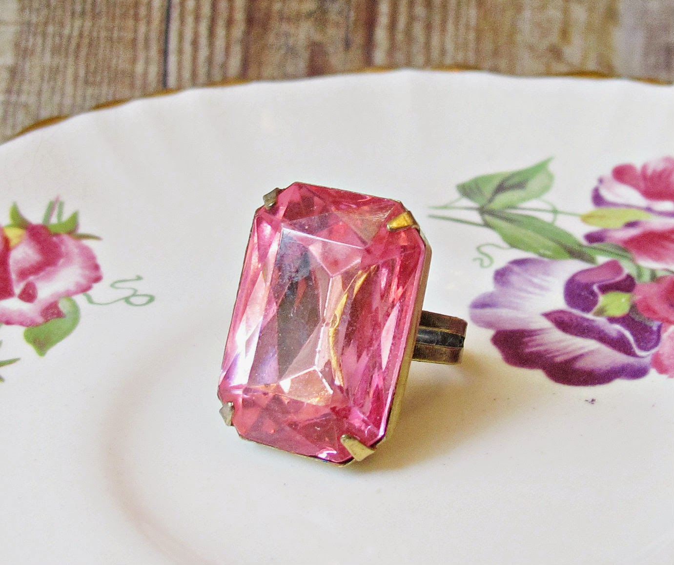 image azalea ring glam it up ring range vintage cocktail ring estate style pink brass adjustable two cheeky monkeys stone glass jewel