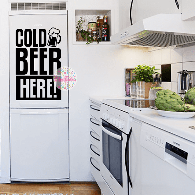Vinilo decorativo para heladera freezer cold beer here for Heladera y cocina juntas