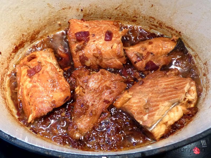 Poursuivez la cuisson jusqu'à ce qu'il n'y ait presque plus de liquide.