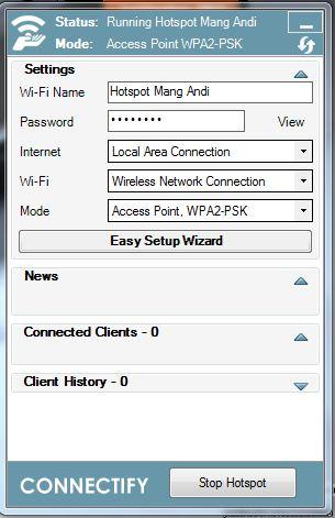 konfigurasi connectify 9