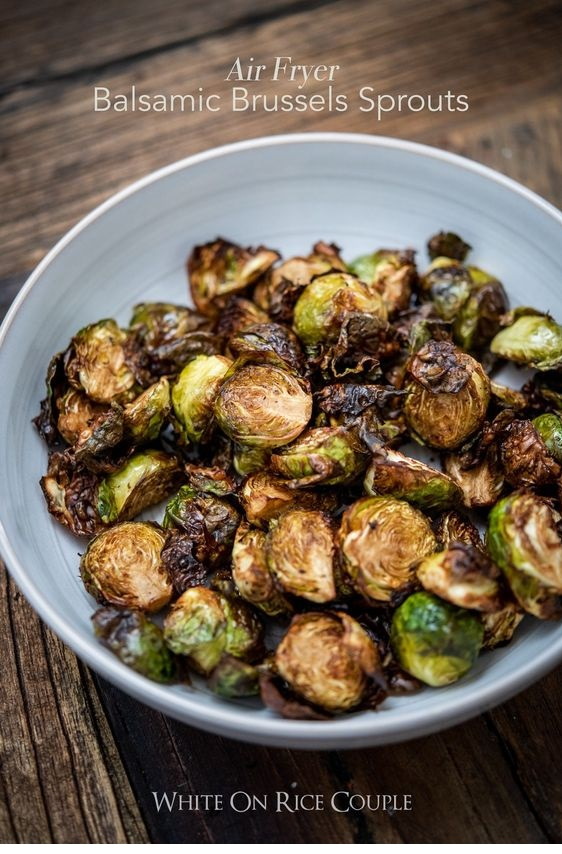 Crispy Air Fryer Roasted Brussels Sprouts With Balsamic