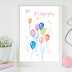↣ FREE Watercolor - Balloons Watercolor Card