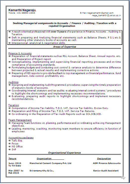 Sample Resume Format with Best presentation of A Master of