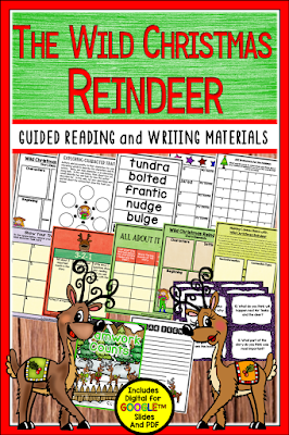 Wild Christmas Reindeer is a favorite December book choice, and this guided reading unit for the book includes before,during, and after activities including schema building, tier 2 vocabulary, character traits, summarizing, making connections, visualizing, column notes, questioning task cards/response sheet, story elements, and a writing project in PDF and DIGITAL FOR GOOGLE SLIDES TM.